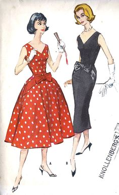 """1950s Misses Party Dress or Cocktail Dress with Full or Slim Skirt, Vintage Sewing Pattern McCall's 4483 Bust 32"""". $18.00, via Etsy."""