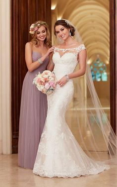 Illusion Cap Sleeves Sheer Lace Back Elegant Mermaid Wedding Dress