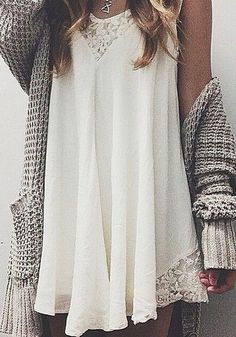 dress sweater hippie cardigan top white lace short chunky cardigan necklace crochet white dress summer outfits cable knit tan beige slouchy lace dress white little dress Mode Outfits, New Outfits, Summer Outfits, Party Outfits, Vegas Outfits, Birthday Outfits, Club Outfits, Birthday Dresses, Short Outfits