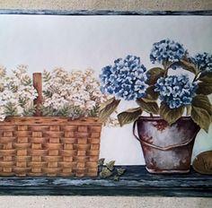 Plants Baskets Herbs Wallpaper Border   Blue   CAB3269 Ro... Https:/