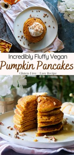 These light and fluffy Gluten-Free Pumpkin Pancakes are like taking a bite of a sweet pumpkin pie for breakfast! They're easy to make are ready to enjoy in less than 10 minutes! Drizzle with maple syrup and top with coconut whipped cream for the ultimate pancakes. Get this easy pumpkin pancakes recipe recipe at GoodFoodBaddie.com #pumpkin #pancakes #eggless #glutenfree Gluten Free Recipes For Breakfast, Dairy Free Recipes, Easy Healthy Recipes, Brunch Recipes, Fall Recipes, Vegan Recipes, Dessert Recipes, Cooking Recipes, Gluten Free Pumpkin Pancakes