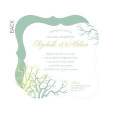 Charming Coral Rehearsal Dinner Invitations