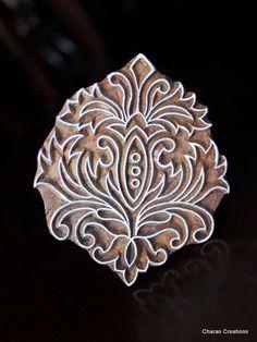Hand Carved Indian Wood Textile Stamp Block Baroque Floral