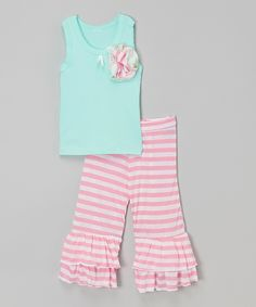Loving this Aqua & Pink Tank & Ruffle Pants - Infant, Toddler & Girls on #zulily! #zulilyfinds
