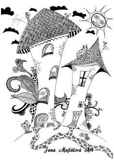 Drawing by Jana Majlátová Art  drawing, marker, zentagle