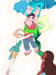 ((Accidently erased the request so ima just put what i could remember-)) Anonymous : Pearl, Connie, Lapis, and Peridot all fighting over Steven