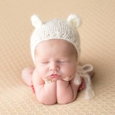 Product Image for Tiny Blessings Boutique Mohair Bear Bonnet in Ivory 1 out of 2