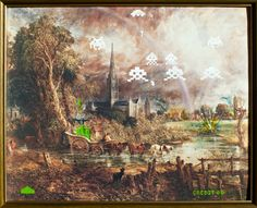 Credit 00 by Andy Heyward, 2012    A good old fashioned 8-bit invasion of earth. Useless fact #27 Space Invaders the game was first released in 1978.    This remixed painting by Andy Heyward measures 665 x 545mm.