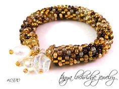Glitzy Gold Glass Bead, Crystal & Cracked Quartz Gemstone Bangle Bracelet
