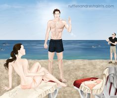 In Fifty Shades Freed, Ana thought she would try to blend in with the crowd while at the beach in Monaco…much to Christian's dismay (to say the least!) I thought I'd try depicting the moment in an illo! ;)