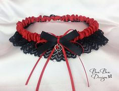 Red and black lace garter wedding garter bridal by BeuBeuDesign