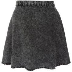 Charcoal Acid Wash Skater Skirt ($8.74) ❤ liked on Polyvore featuring skirts, bottoms, saias, faldas, charcoal grey skirt, circle skirt, denim skater skirt, charcoal gray skirt and flared skirt