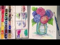 New Art and Craft Tutorial Videos 4 times a week! My name is Lindsay Weirich, AKA the Frugal Crafter. My videos showcase a w. Watercolor Video, Watercolour Tutorials, Watercolor Techniques, Watercolour Painting, Watercolor Flowers, Painting & Drawing, Fabric Painting, Watercolours, Art Tutorials