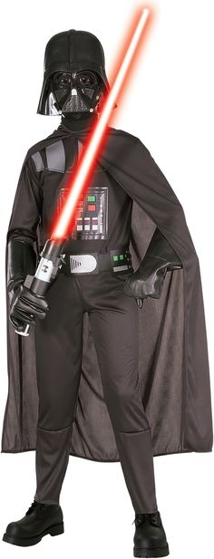 Star Wars Darth Vader Standard Child Costume This costume is sure to please even the biggest Star Wars Fan! Your little one will love this kids Darth Vader costume for the next dress up party or school event! Includes injection molded Darth Vader face mask, black fabric cape, printed jumpsuit and belt. Darth Vader's lightsaber and gloves sold separately. This is an officially licensed STAR WARS™ Revenge of the Sith costume.