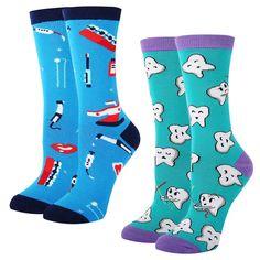 Cute Dentist Dental Hygienist Print Blue Mens//Womens Sensitive Feet Wide Fit Crew Socks and Cotton Crew Athletic Sock