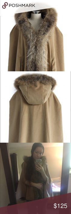 "Khaki Faux Fur Hooded Cape This cape coat is perfect for Christmas time!! Brand new with tags, size XS (fits US 0-4)  - Soft fabric with faux fur trim - Hooded neckline - Jute and toggle fastening through the center front - Sleeveless design - Fur part is detachable - Shell: 100% Polyester, Faux Fur: 100% Nylon - Hand wash      Length: 27.5"", Shoulder: 14.2""    Not Steve Madden, just tagged for views Steve Madden Jackets & Coats"