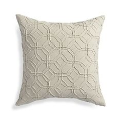 Pintuck embroidery creates channels of fabric that fashion a graceful trellis design. The pillow reverses to solid ivory to match the front. Our decorative pillows include your choice of a plush feather-down or lofty down-alternative insert at no extra cost.
