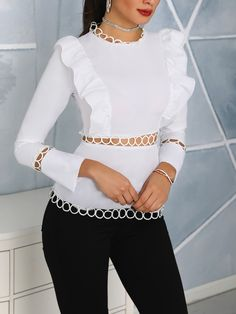 party Outfit boutiquefeel / Solid Ruffle Hollow Out Detail Blouse Solid Ruffle Hollow Out Detail Blouse Party Outfits Teenage, Dinner Party Outfits, Trendy Outfits, Fashion Outfits, Women's Fashion, Fashion Images, Holiday Fashion, Latest Fashion, Fashion Brands