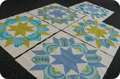Wonderful use of color and fussy cutting. Beautiful Swoon quilt blocks