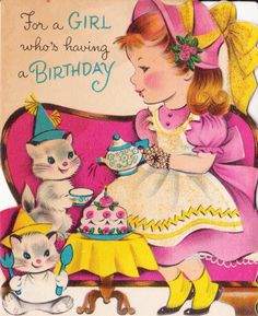 1950s For A Girl Who's Having A Birthday Vintage Greeting Card