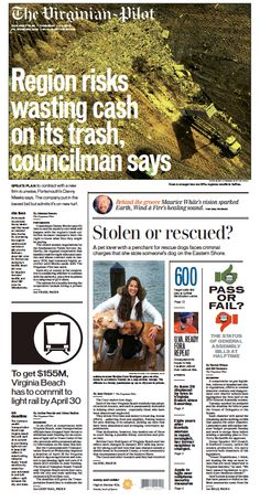 The Virginian-Pilot's front page for Thursday, Feb. 18, 2016.