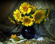 still life - yellow, flower bouquet, photography, sunflower, beautifully, vase, still life, flowers
