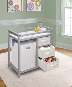 Baby Changing Table with 3 White Baskets and Hamper Baby Furniture Gray, Badger #Badger