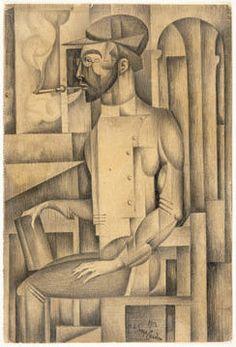 Amadeo de Souza-Cardoso  Retrato do Dr. Pallazzoli, 1913 Modernisme, Georges Braque, Gustav Klimt, Pencil Illustration, Make Art, Paint Designs, Art And Architecture, Acrylics, Portugal