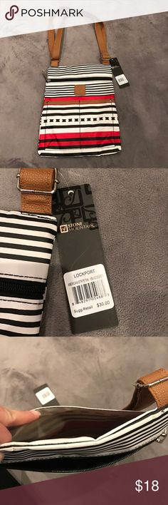 Stone Mountain Cross body with tags White, Black, Red and Tan, Lightweight Stone Mountain Bags Crossbody Bags