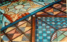 Pam Marwede's hand-painted floor canvas. Waterproof, durable and possessing artisinal mojo.