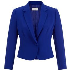 Hobbs Catrin Jacket, Iris Blue (€245) ❤ liked on Polyvore featuring outerwear, jackets, hobbs, tailored jacket, collar jacket, cropped jacket and blue jackets