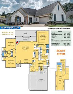 country house decor Start My Dream Home Plan 2224 is a 3 Bedroom 3 Bathroom 1 Bonus Room home with a little over 1900 sq ft of living space. Check out this plan and others! Barn House Plans, Country House Plans, Dream House Plans, Small House Plans, My Dream Home, Farmhouse Floor Plans, Open Living Area, Sims House, House Layouts