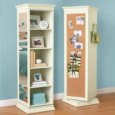 Revolving bookcase/mirror/corkboard/hooks