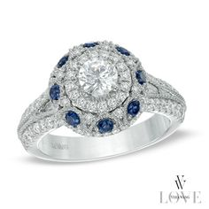 Vera Wang LOVE Collection 1-1/6 CT. T.W. Diamond and Blue Sapphire Frame Engagement Ring in 14K White Gold
