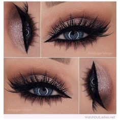 Rose glitter eye makeup for blue eyes ❤ liked on Polyvore featuring beauty products, makeup and eye makeup