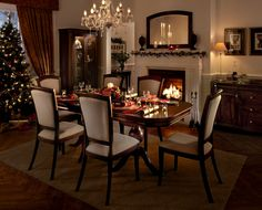 We love this image of a dining set at Christmas. The classic dark wood beautifully compliments the reds and golds of Christmas. The roaring fire just sets the scene perfectly. Dining Furniture, Dark Wood, Dining Set, Table Settings, Seasons, Compliments, Shopping, Scene, Fire