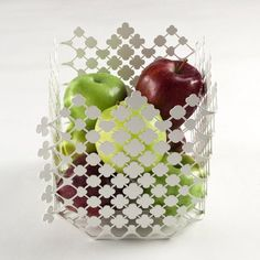 Alessi Blossom Fruit Basket, Stainless Steel , Colored with Epoxy Resin White, H.8""