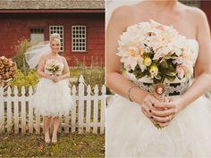 Short layered cupcake dress, fun updo, dark nails...love this bride's style! Tiffany & Jon's Rustic Fall Farm Wedding   Sweet Little Photographs