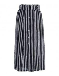 A.L.C. McDermott Striped Silk Midi Skirt
