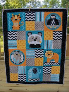 Hey, I found this really awesome Etsy listing at https://www.etsy.com/listing/249003846/modern-baby-quilt-baby-animals-handmade