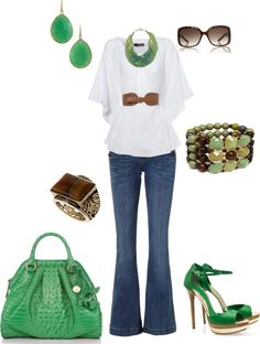 green outfit, created by kaybraden on Polyvore