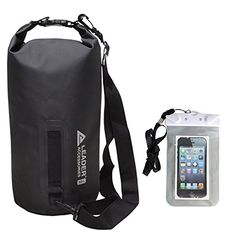 New Heavy Duty Vinyl Waterproof Dry Bag for Boating Kayaking Fishing Rafting Swimming Floating and Camping with Free Waterproof Phone Case Bag black 10L * You can get more details by clicking on the image. Note:It is Affiliate Link to Amazon.