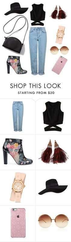 """""""Friday Afternoon Meet Up"""" by ellyyulyantikoswara on Polyvore featuring Topshop, Camilla Elphick, Louis Vuitton, Michele, San Diego Hat Co. and Linda Farrow"""