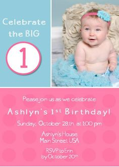 Pink and blue Polka dot birthday party by DragonflyDesigned, $1.20