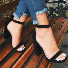 Womens shoes style, women black shoes, cheap shoes for women, casual womens shoes, womens casual shoes and casual shoes womens. Ankle Strap Block Heel, Ankle Strap Heels, Fashion Heels, Sneakers Fashion, Prom Shoes, Shoes Heels, Pumps, Sneakers Mode, Aesthetic Shoes