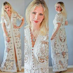 Vtg 70s CUT OUT Lace CROCHET Hippie SHEER Scalloped WEDDING Runway Maxi DRESS  #Maxi #BridalFormal