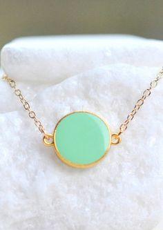Mint Dot Bracelet. Simple Mint Bracelet. Geometric