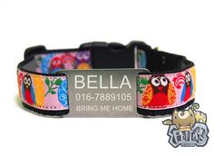 Pink Owl Dog Collar  Personalized Happy Pet Collar FREE