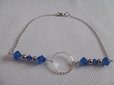 Bracelet de cheville cercle, perles en cristal de Swarovski bleu, tout le métal est en acier inoxydable.