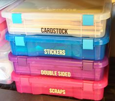 labeled storage bins for scrapbook paper and card stock help you get organized with labels